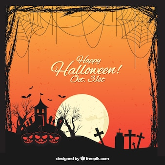 Halloween landscape background with moon