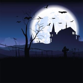 Пейзаж хэллоуина с замком, летучими мышами, луной и кладбищем. вектор