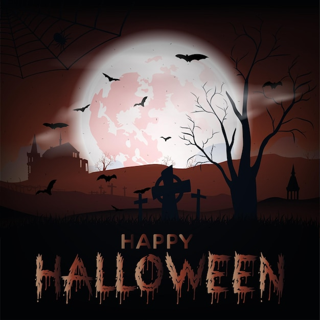Halloween landscape with castle, bats, moon and cemetery. vector