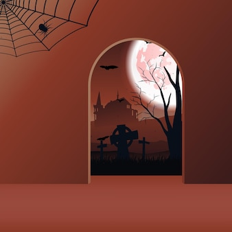 Halloween landscape with castle, bats, moon and cemetery. vector.