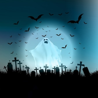 Halloween landscape with ghostly figure and cemetery