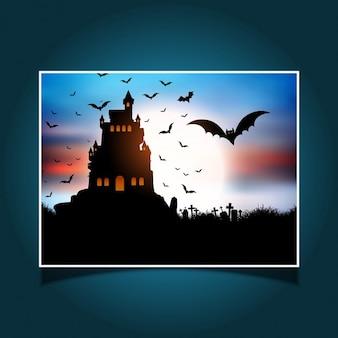 Halloween landscape with spooky castle