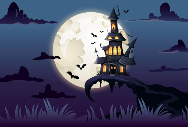 Halloween landscape with spooky haunted castle and full moon with bats cartoon illustration