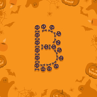 Halloween letter b from skulls and crossbones for design festive font for holiday and party on orang...