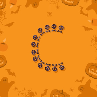 Halloween letter c from skulls and crossbones for design festive font for holiday and party on orang...