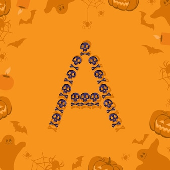 Halloween letter a from skulls and crossbones for design festive font for holiday and party on orang...