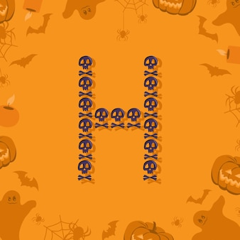휴일 및 파티를 위한 디자인 축제 글꼴을 위한 두개골과 이미지의 할로윈 문자 h...