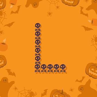 휴일 및 오렌지 파티를 위한 디자인 축제 글꼴을 위한 두개골과 이미지의 할로윈 문자 l