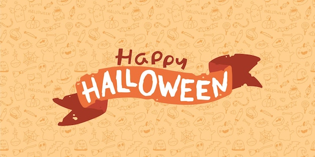 Halloween lettering baner on doodle background seamless pattern holiday characters
