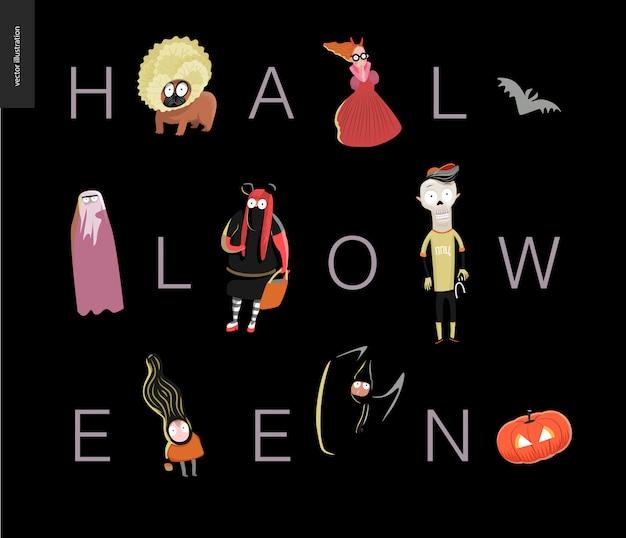 Halloween lettering card on black