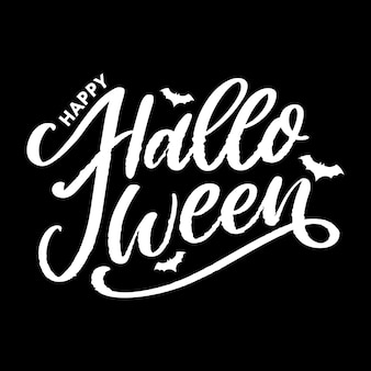 Halloween lettering greeting card calligraphy text brush black
