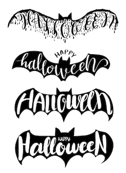 Хэллоуин надписи на летучей мыши векторные иллюстрации для вечеринки в честь хэллоуина, пригласительный билет на хэллоуин, плакат и наклейка для печати
