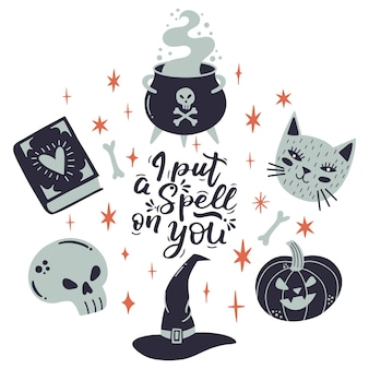 Halloween lettering quote with witchery elements, hat, cauldron, cat. vector sketch scary and horror, cat and pumpkin silhouette illustration