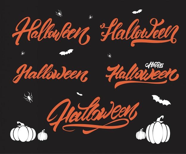 Halloween lettering style set