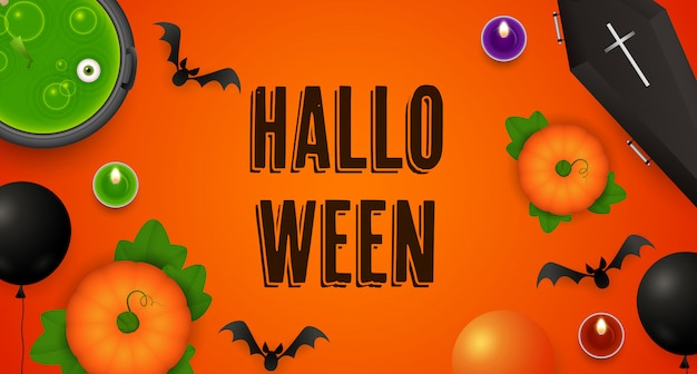 Halloween lettering with pumpkins, cauldron, coffin and bats