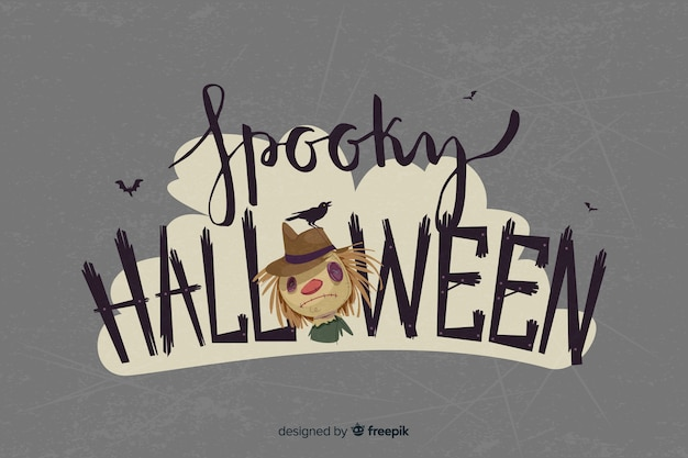 Halloween lettering with scarecrow