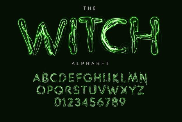 Набор букв и цифр хэллоуина. ведьма магический стиль вектор латинский алфавит. шрифт ghostbusters для мероприятий, рекламных акций, логотипов, баннеров, монограмм и плакатов. дизайн типографики.