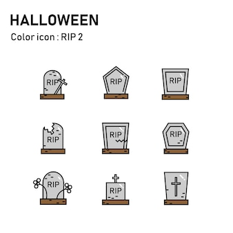 Halloween line color icons
