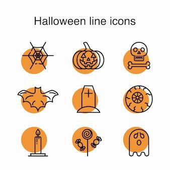Значки линии хэллоуина