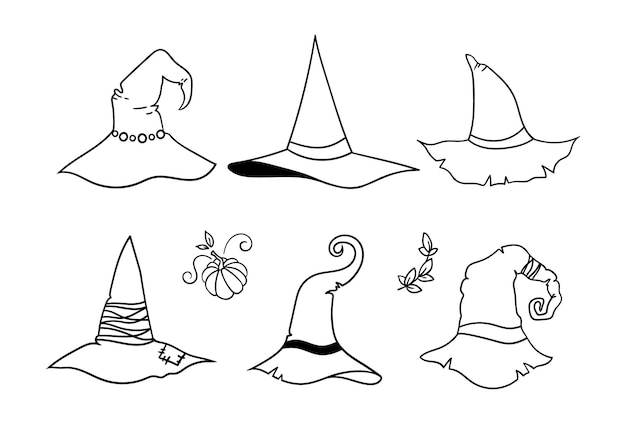 Halloween line witch hat bundle outline witchy wizard hat or cap black and white isolated clipart
