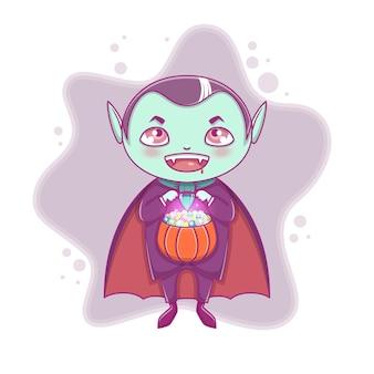 Хеллоуин маленький вампир дракула. мальчик ребенок с улыбающимся лицом в костюме хэллоуина с тыквой в руке. кошелек или жизнь. векторная иллюстрация.