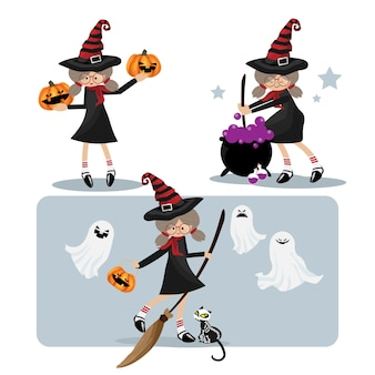 Halloween little witches collection.