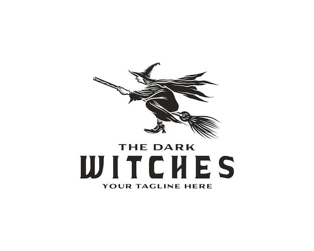 할로윈 로고 또는 레이블 템플릿 손으로 그린된 오래 된 마녀 빗자루 스케치 기호에 비행