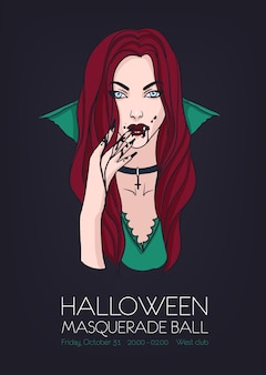 Halloween masquerade ball party, poster event template with beautiful vampire woman