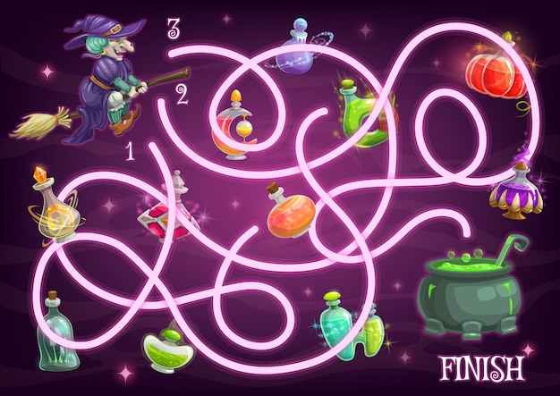 Halloween maze game template of children education labyrinth puzzle with witch and potion