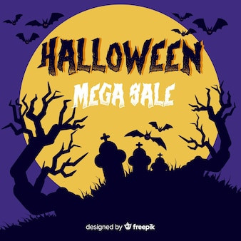 Halloween mega sale with full moon and tomb stones