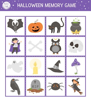 Halloween memory game cards with traditional holiday symbols. matching activity with funny characters. remember and find correct picture card. simple autumn printable worksheet for kids.