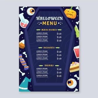 Disegno del modello di menu di halloween