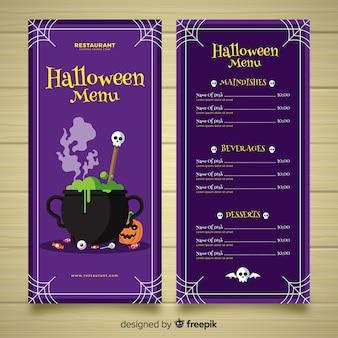 Halloween menu template in flat design