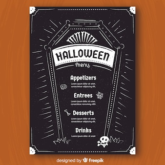 Halloween menu template in hand drawn style