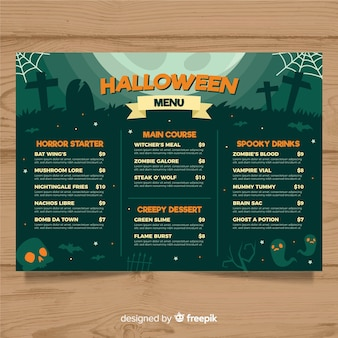 Halloween menu template with flat design