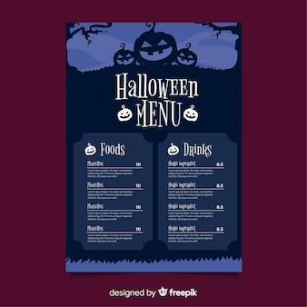 Halloween menu template with flat design