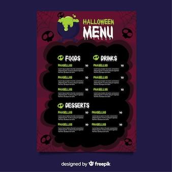 Modello di menu di halloween con design piatto