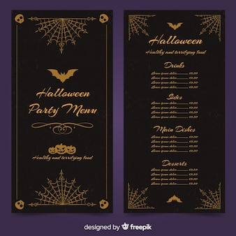Halloween menu template with vintage design