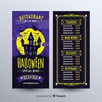Halloween menu template