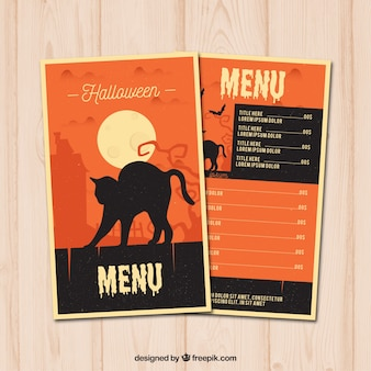 Halloween menu with black cat