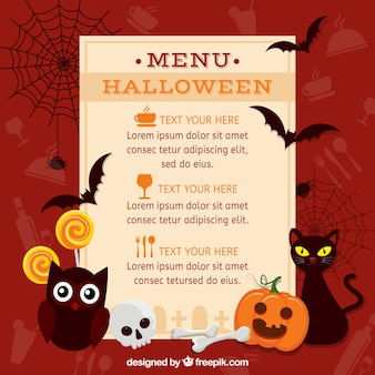 Halloween menu with classic elements