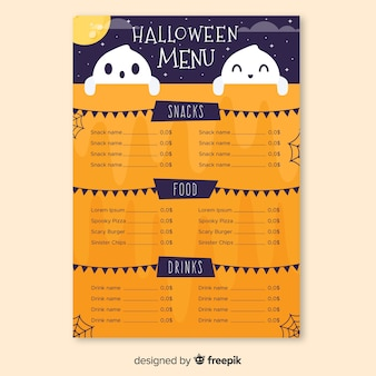 Halloween menu with cute smiley ghosts