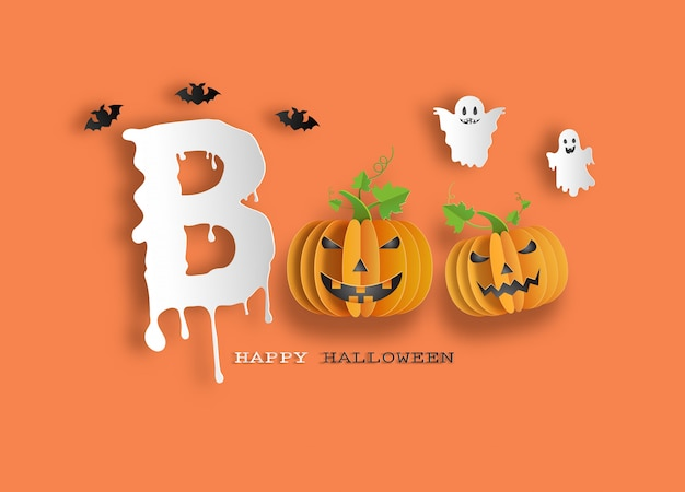 Halloween message boo for banner or background.