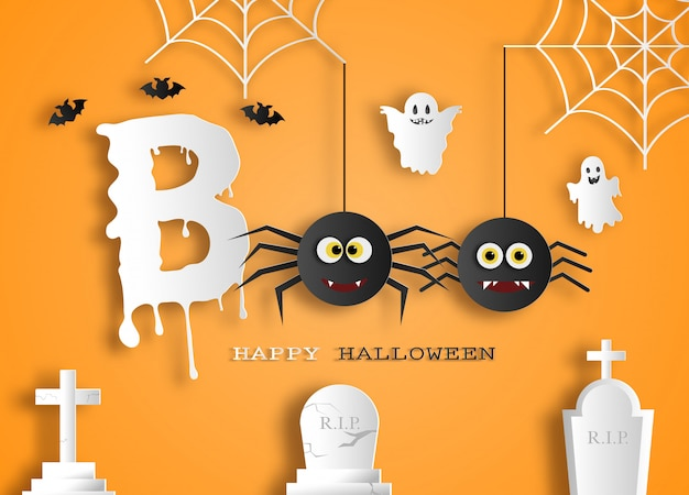 Halloween message boo for poster or background.