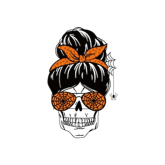 Halloween messy bun holiday mom life design with quote spooky mama funny mom
