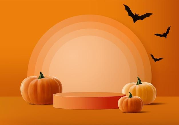 Хеллоуин минимальная сцена 3d с дымом и платформой подиума. хэллоуин фон вектор 3d-рендеринг с тыквенным подиумом. стенд для демонстрации продукции. сценическая витрина на постаменте современная оранжевая тыквенная пастель