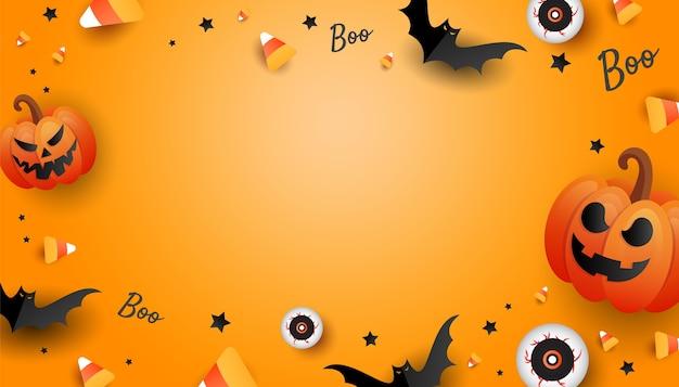 カボチャ、色のキャンディー、大きな目、オレンジ色の背景にコウモリとハロウィーンのモックアップデザインフレーム。横の休日のポスター、ウェブサイトのヘッダー。フラットレイ、コピースペース付きの上面図