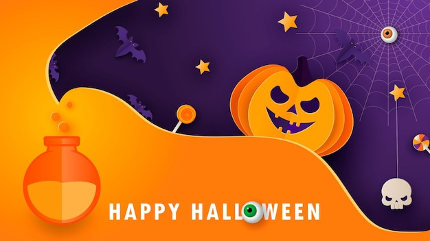 Halloween modern minimal design template for website, greeting or promo banner, paper cut style flyer with cute pumpkin and other traditional halloween elements on dark background. vector