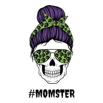 Halloween mom female skull with aviator glasses bandana and skull print mom skull with messy bun