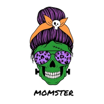 Halloween mom female skull with aviator glasses bandana and skull print